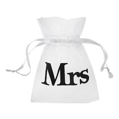 Weißes Giveaway Säckchen Mr & Mrs