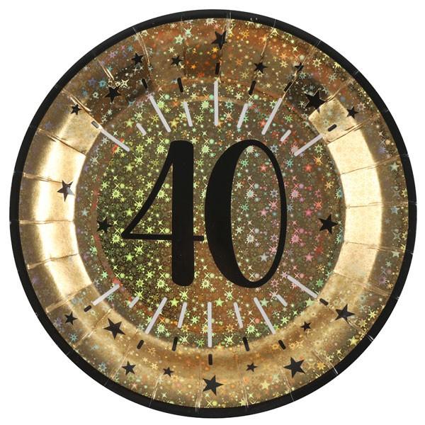 Pappteller 40 Geburtstag gold schwarz