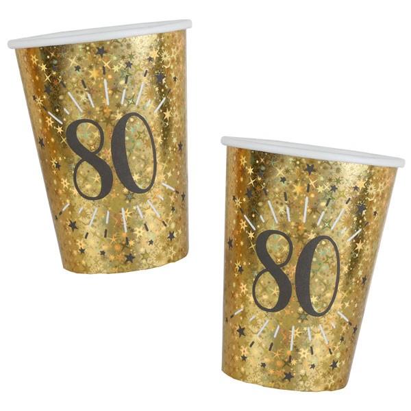 Pappbecher 80 Geburtstag gold schwarz