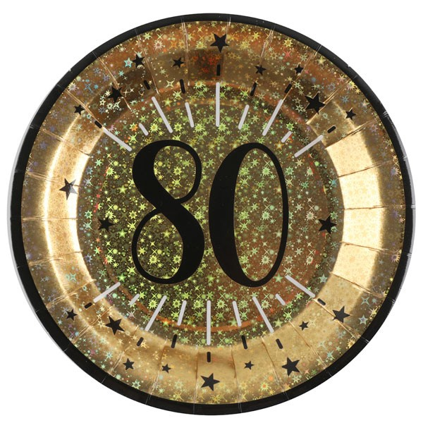Pappteller 80 Geburtstag gold schwarz