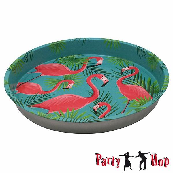 Metalltablett Flamingos Palmblätter