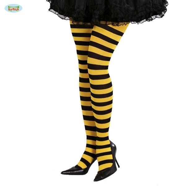 Damenstrumpfhose gelb-schwarz gestreift