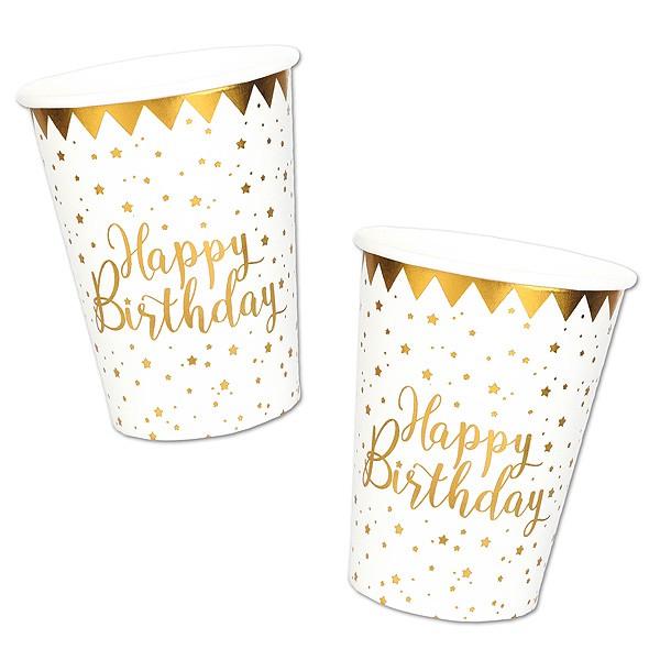 Pappbecher Happy Birthday gold