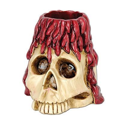 Teelichthalter Totenkopf mit Wachs