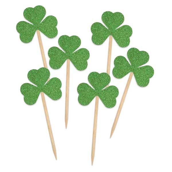 Dekopicker irische Kleeblätter Glitter