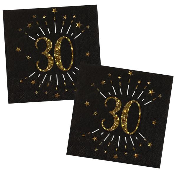 Servietten 30 Geburtstag schwarz gold