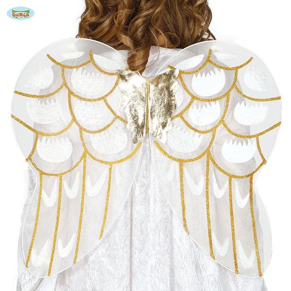 Weiße Engelsflügel mit Glitter