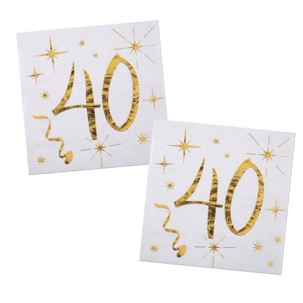 Servietten 40. Geburtstag gold