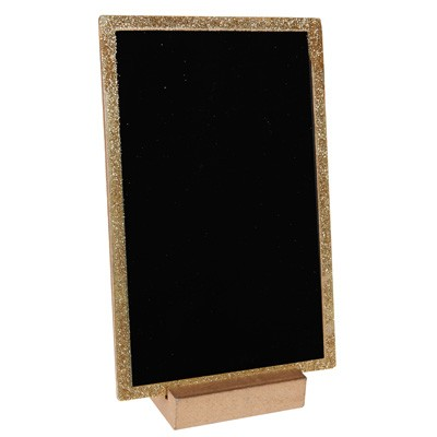 golden glitzernder tischaufsteller kleine deko tafel zum beschriften. Black Bedroom Furniture Sets. Home Design Ideas