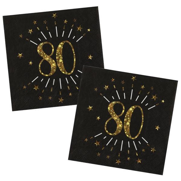 Servietten 80 Geburtstag schwarz gold