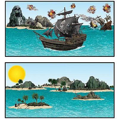 Wanddeko-Set Piratenschiffe und Inseln