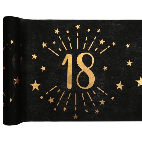 Tischläufer 18 Geburtstag schwarz gold