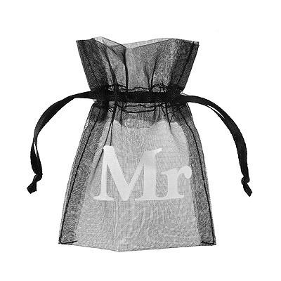 Kleines Giveaway Säckchen Mr & Mrs schwarz