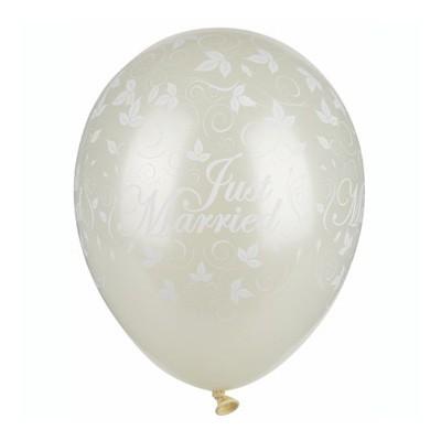 Luftballons Just Married elfenbein