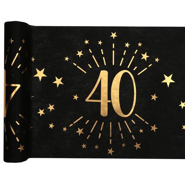 Tischläufer 40 Geburtstag schwarz gold