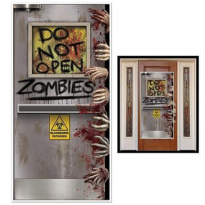 Halloweendeko Türposter Do Not Open Zombies