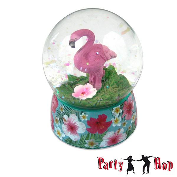 Schneekugel Flamingo