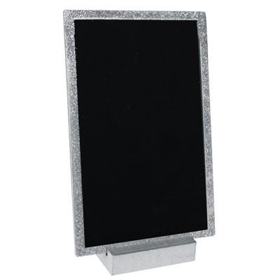 silber glitzernder tischaufsteller kleine deko tafel zum. Black Bedroom Furniture Sets. Home Design Ideas