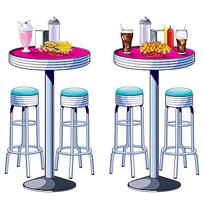 Party-Wanddeko-Set Soda Shop Tische & Stühle