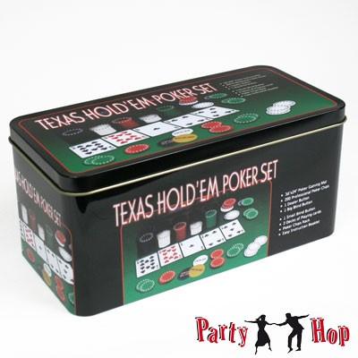 Poker Set mit Karten Chips Filzunterlage