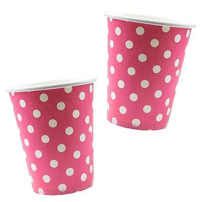 Pappbecher Pünktchen Polka dots pink