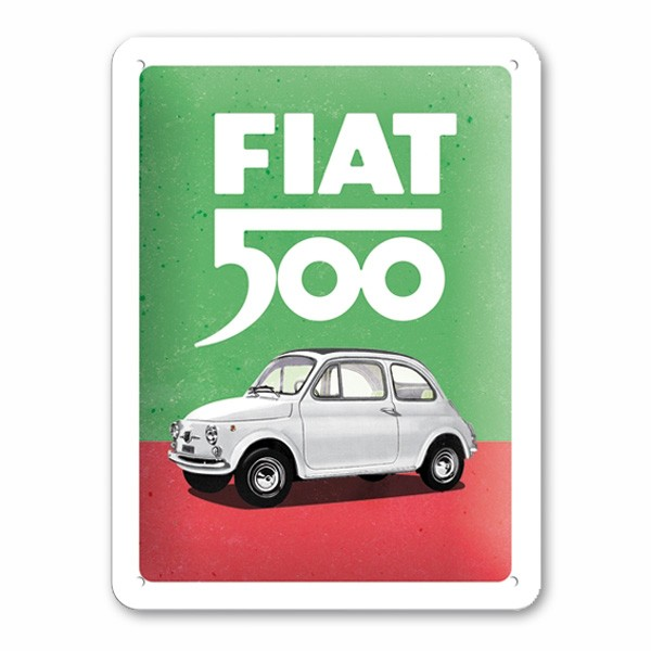 Blechschild Fiat 500 Italian Colours