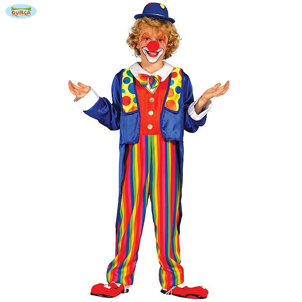 Kinder Karnevalskostum Clown Dummer August Bunter Anzug Fasching