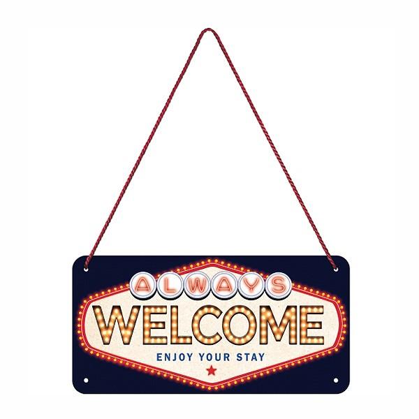 Blechschild Welcome mit Kordel