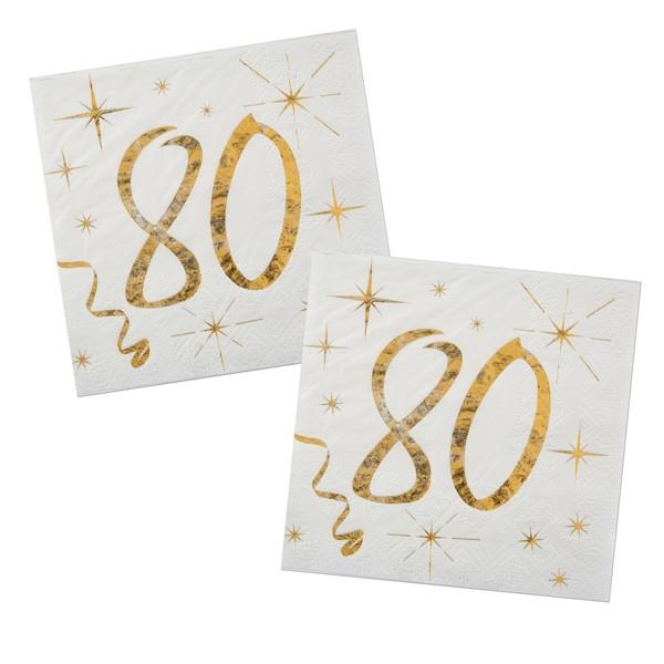 Servietten 80. Geburtstag gold