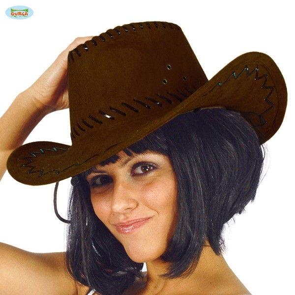 Cowboyhut Westernhut Lederoptik braun