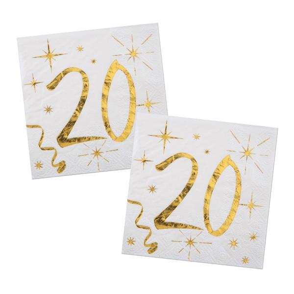 Servietten 20. Geburtstag gold