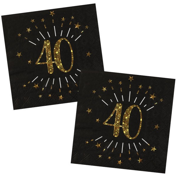 Servietten 40 Geburtstag schwarz gold
