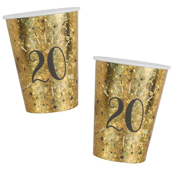 Pappbecher 20 Geburtstag gold schwarz