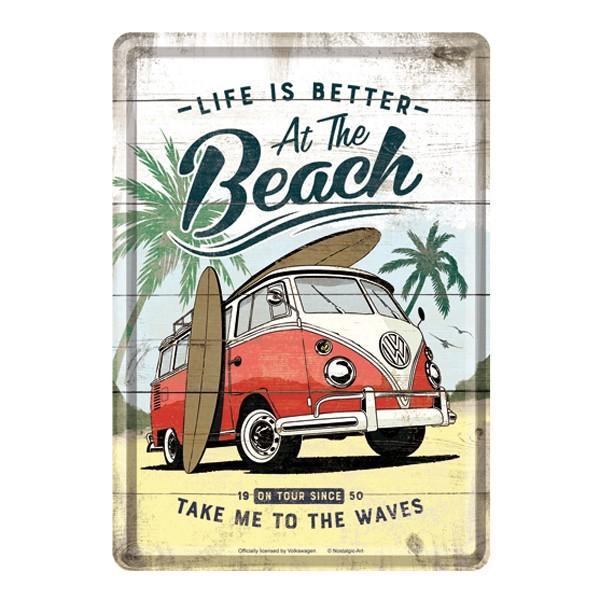 Blechpostkarte VW Bulli Beach