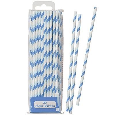 Papier-Trinkhalme hellblau blau weiß