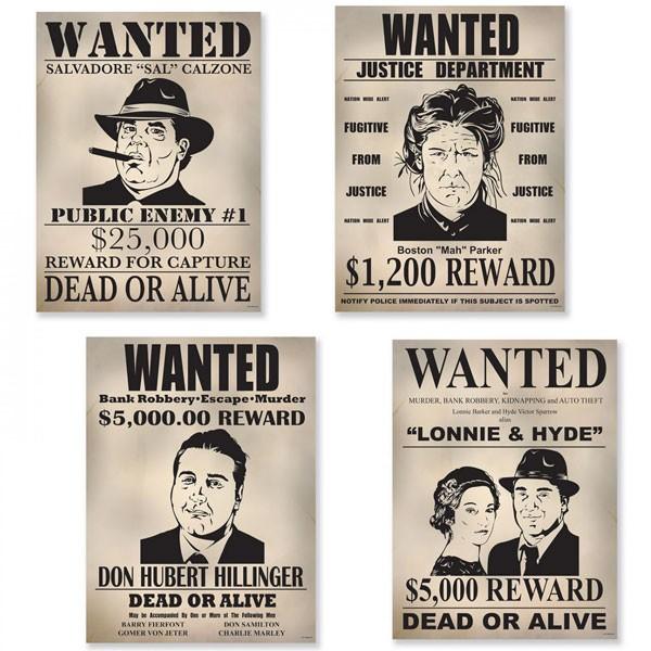 Partydeko Gangster Steckbriefe 20er Jahre