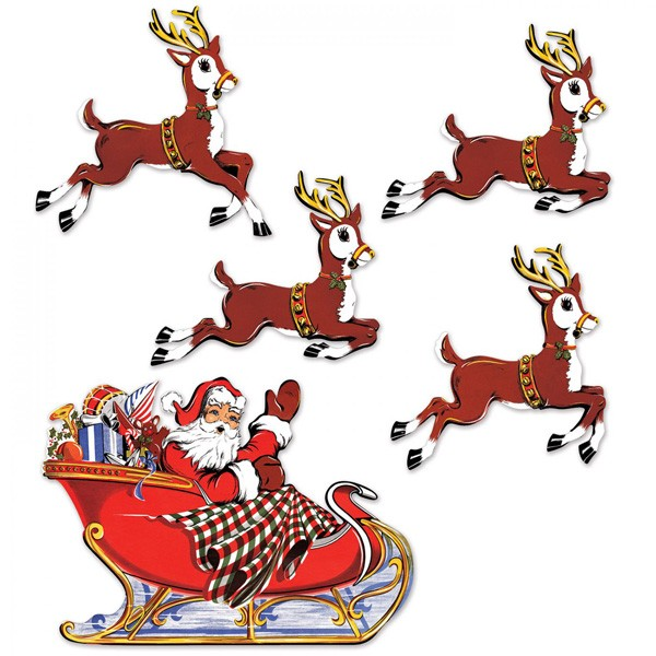 Weihnachtsmann mit Schlitten Dekomotiv
