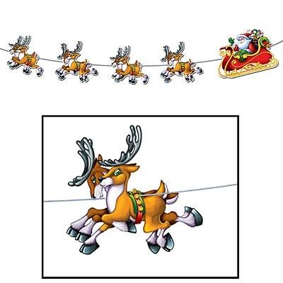 Dekogirlande Weihnachtsmann Schlitten