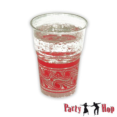 Kunststoffbecher transparent-rot