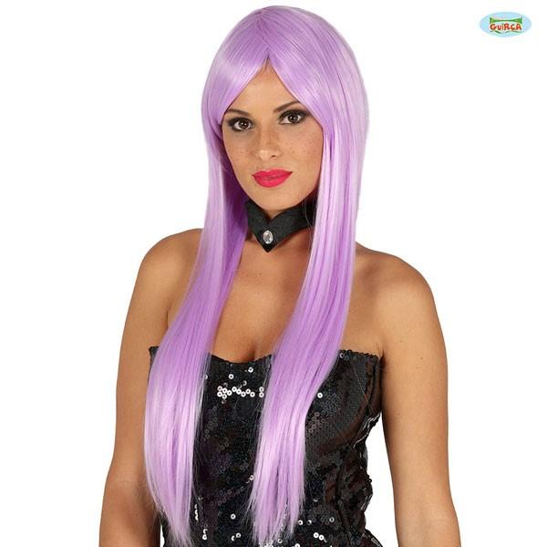 Lila Damenperücke mit glatten langen Haaren