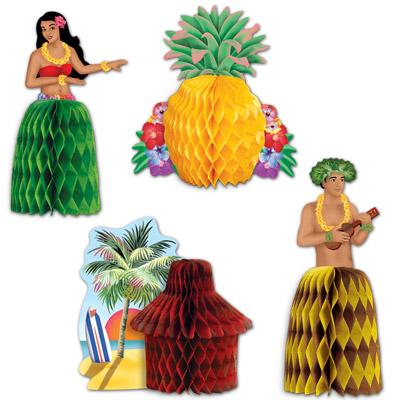 tischdeko hawaii mottoparty 4 tischaufsteller mit. Black Bedroom Furniture Sets. Home Design Ideas