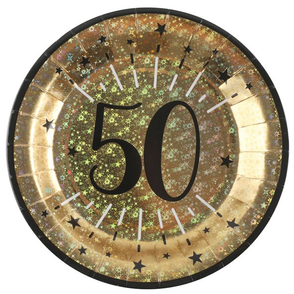 Pappteller 50 Geburtstag gold schwarz