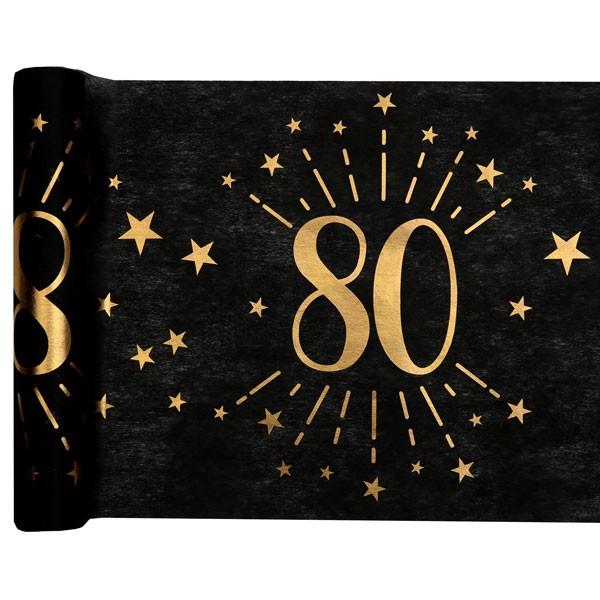 Tischläufer 80 Geburtstag schwarz gold