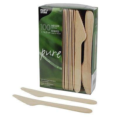 Partybesteck Holzmesser 100 Stück