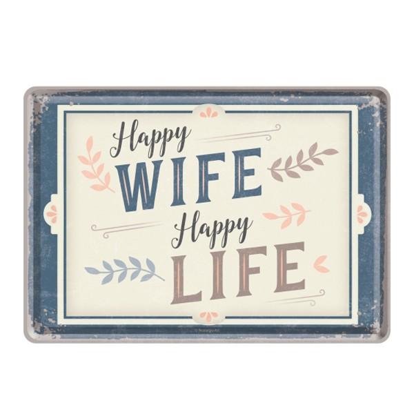 Blechpostkarte Happy Wife Happy Life