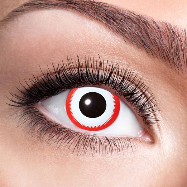 Weiß-rote Kontaktlinsen ohne Stärke Saw