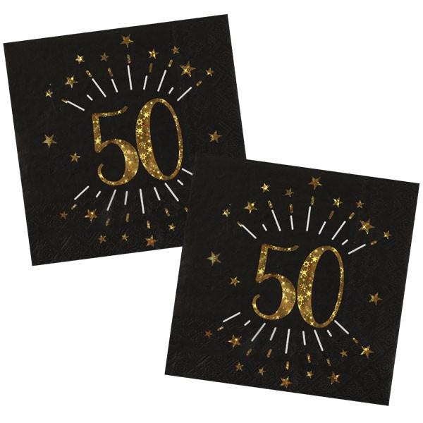 Servietten 50 Geburtstag schwarz gold