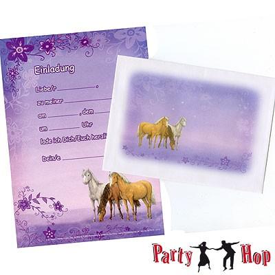 Einladungsset Pferdchen Blüten 12er