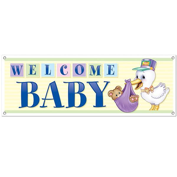 Partydeko Banner Welcome Baby
