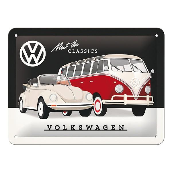 Blechschild VW - Meet The Classics - Käfer & Bulli 20x15 cm